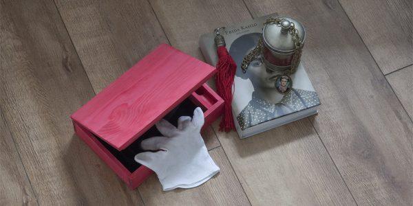 Caja madera roja dlux