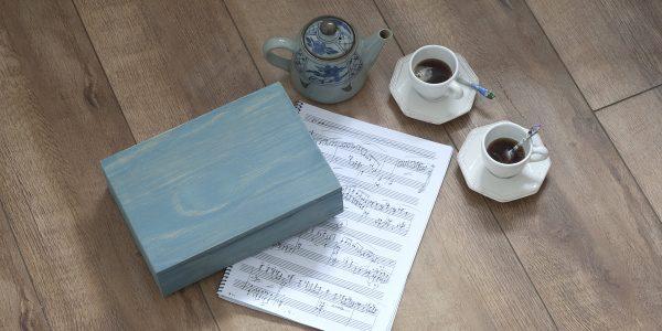 Caja madera azul provenzal dlux